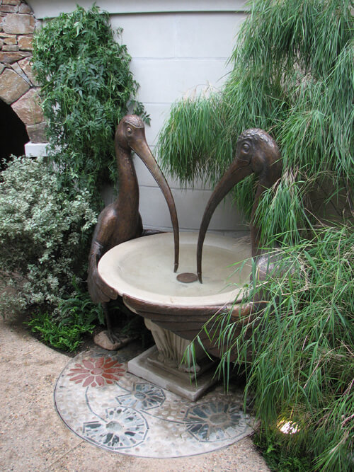 Bird fountain sculpture