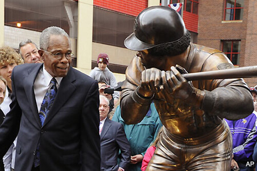Bigger than Life Baseball Ballpark Public Bronze Sculpture - Carew pictured with his bronze