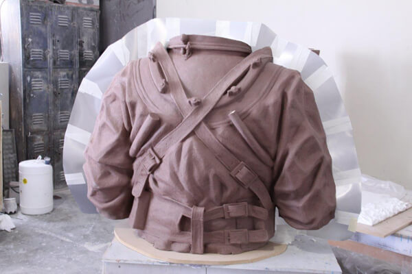 Clay Naval diving torso - back view