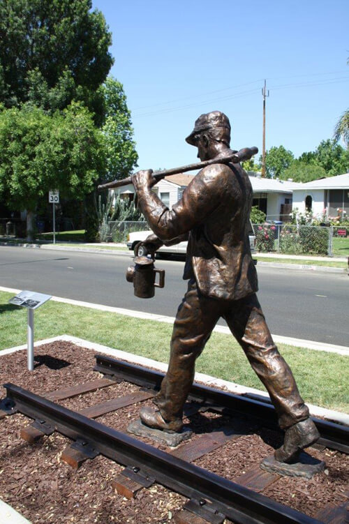 Railroad worker cast in Bronze