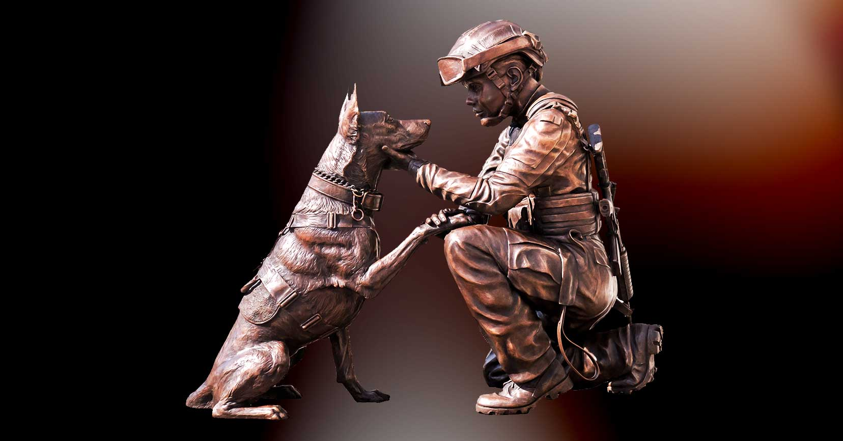Soldier and Combat Dog Bronze Casting by American Fine Arts home page