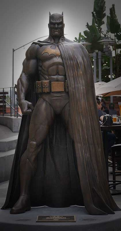 Larger-than-Life Bronze Batman Statue Unveiled on AMC Walkway in Burbank November 2020. Foundry and Fabrication was American Fine Arts