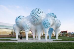 MARC FORNES / THEVERYMANY, PILLARS OF DREAMS, 2019. Location: Charlotte, NC. Photo: @studio_naaro, via The Arts and Science Council from Sculpture's May/June 2020 Art in Public Places edition.